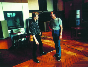 David Bowie and Sound Engineer Eduard Meyer in the Meistersaal Berlin,