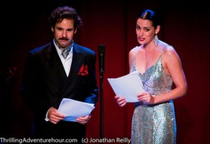 "Paul F. Tompkins and Paget Brewster in The Thrilling Adventure Hour segment, ""Beyond Belief."""