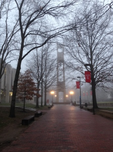 Temple U Bell Tower Early Morning Fog