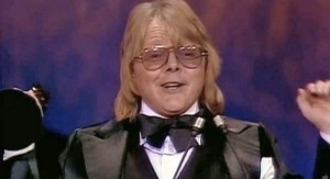 "Paul Williams accepting the Academy Award for the song ""Evergreen."""