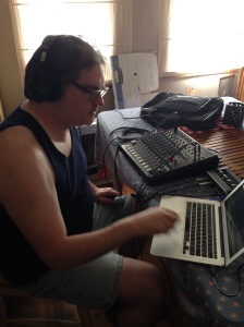 Vince testing our portable recording setup.