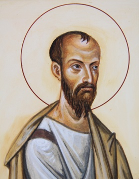 A large headed man with a halo, The Apostle Paul by Aidan Hart